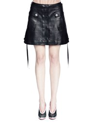 Lanvin Leather A Line Mini Skirt Black