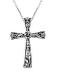 Lord And Taylor Diamond Sterling Silver Cross Pendant Necklace Diamond Silver