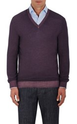 Ermenegildo Zegna Men's Wool Silk Pique V Neck Sweater Purple