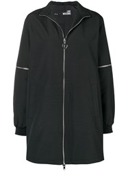 Love Moschino Zip Detail Fitted Coat Black