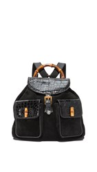 Wgaca Gucci Croc Bamboo Backpack Black