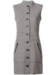 Veronica Beard Sleeveless Houndstooth Dress Black