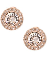 Givenchy Rose Gold Tone Crystal And Pave Clip On Stud Earrings