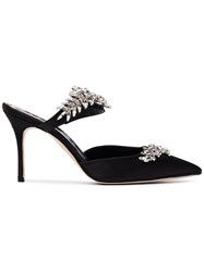 Manolo Blahnik Black Lurum Crystal 90 Satin Mules