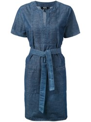 A.P.C. Tie Waist Tunic Dress Women Cotton 38 Blue