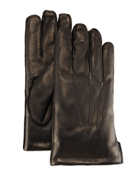Portolano Faux Fur Lined Leather Gloves Blk Blk