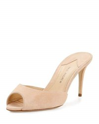 Paul Andrew Aristata 75Mm Suede Peep Toe Mule Nude