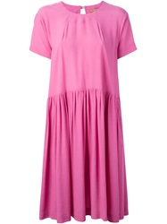 Peter Jensen Gathered Smock Dress Pink And Purple