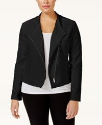 Calvin Klein Plus Size Textured Knit Moto Jacket Black