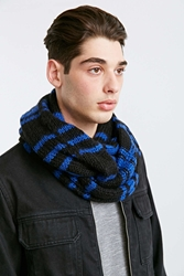 Urban Outfitters Plaid Cable Knit Eternity Scarf Grey