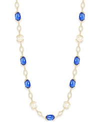 Charter Club Gold Tone Multicolor Stone Long Strand Necklace Only At Macy's Blue