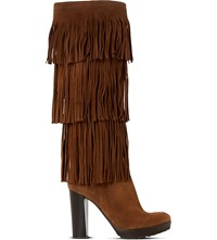 Dune Stetson Suede Knee High Boots Tan Suede