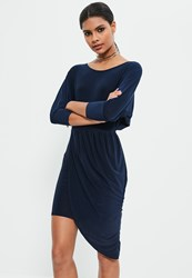 Missguided Navy Slinky Off The Shoulder Bodycon Dress