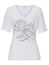 Betty Barclay Embellished Motif T Shirt White Grey