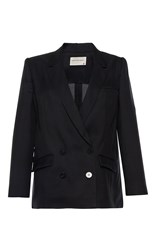 Maison Rabih Kayrouz Oversized Double Breasted Silk Blazer Black