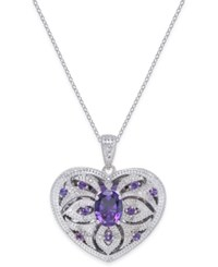 Macy's Amethyst 2 Ct. T.W. And Diamond 1 10 Ct. T.W. Heart Locket Pendant Necklace In Sterling Silver