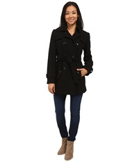 Calvin Klein Double Breasted Belted Wool Trench Coat Black Women's Coat