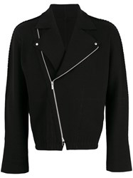 Issey Miyake Knitted Biker Jacket Men Cotton Nylon 1 Black