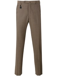 Incotex Slim Tailored Trousers Men Mohair Wool 54 Brown