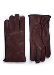 Merola Gloves Cashmere Lined Leather Short Brown