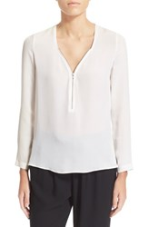 Women's The Kooples Zip Long Sleeve Silk Top White