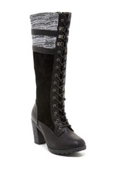 Carrini Knit Cuff Laced Boot Black