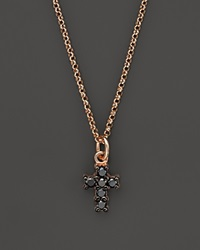 Kc Designs Black Diamond Cross Pendant Necklace In 14K Rose Gold 16 Pink Black
