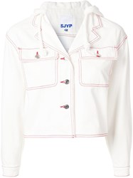 Sjyp Red Stitch Hooded Denim Jacket White