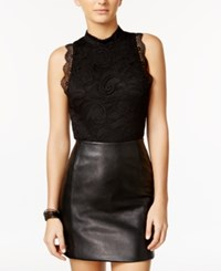 Material Girl Mock Neck Lace Bodysuit Only At Macy's Caviar Black