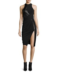 Alexander Wang Leather And Jersey Sleeveless Draped Cocktail Dress Black