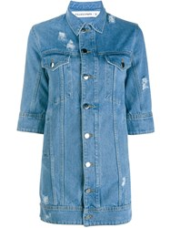 Filles A Papa Crop Sleeved Denim Jacket Blue