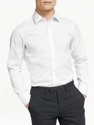 Smyth And Gibson Stretch Cotton Poplin Tailored Fit Shirt White