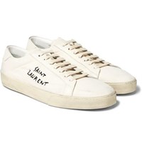 Saint Laurent Sl 06 Court Classic Distressed Leather Trimmed Embroidered Canvas Sneakers White