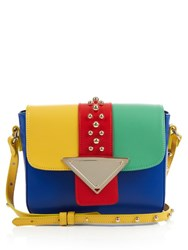 Sara Battaglia Lucy Block Colour Leather Cross Body Bag Blue Multi