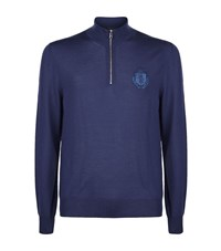 Billionaire Half Zip Sweater Male Blue