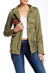 Desigual Embroidered Linen Blend Military Jacket Green