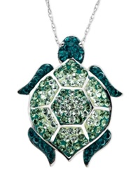 Kaleidoscope Sterling Silver Necklace Green Swarovski Crystal Turtle Pendant 1 1 6 Ct. T.W.