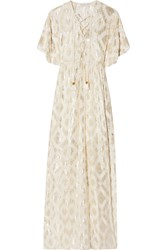 Rachel Zoe Lace Up Metallic Fil Coupe Silk Blend Maxi Dress Cream