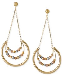 Macy's Beaded Trapeze Drop Hoop Earrings In 14K Yellow White And Rose Gold Tri Tone