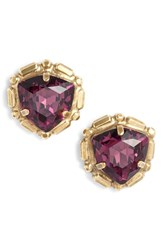 Sorrelli Adorned Triangle Crystal Stud Earrings Purple Multi