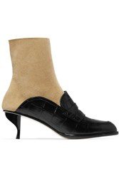 Loewe Croc Effect Leather And Suede Ankle Boots Black