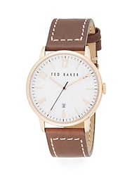 Ted Baker Round Rose Goldtone Stainless Steel And Leather Watch Rose Gold Brown
