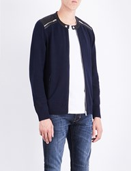The Kooples Leather Trim Cotton Cardigan Nav01