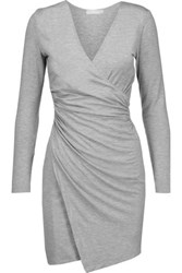 Kain Label Nori Wrap Effect Stretch Modal Blend Mini Dress Light Gray