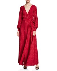 Fame And Partners The Rachel Long Long Sleeve Striped Self Tie Wrap Dress Dark Red