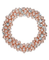 Charter Club Silver Tone Imitation Pink Pearl And Crystal Cluster Stretch Bracelet Silver Tone