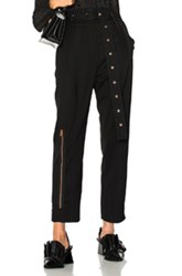 Proenza Schouler Lightweight Wool Suiting Pleated Straight Pant In Black