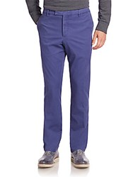 Ralph Lauren Purple Label Solid Washed Flat Front Pants Blue