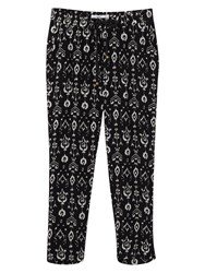 Mango Printed Baggy Trousers Black