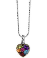 Macy's Effy Balissima Multi Gemstone Pendant Necklace 2 Ct. T.W. In Sterling Silver And 18K Gold Two Tone